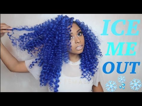 ELECTRIC BLUE  HAIR  Crochet Hairstyle Tutorial |COLOR Natural Hair(NO BLEACH or PERMANENT COLORING) thumbnail