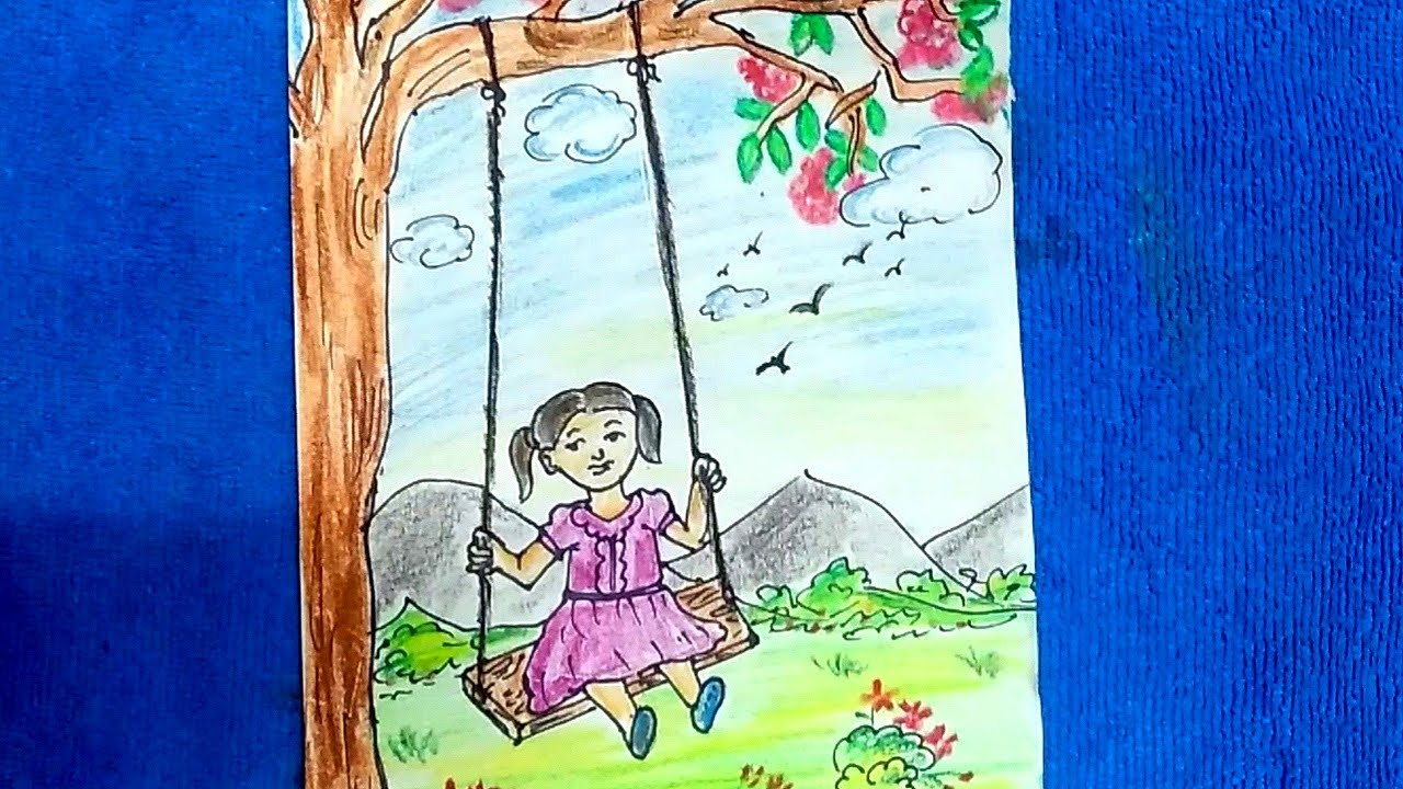 Easy Drawing For Kids A Girl On A Swing Easy Drawing