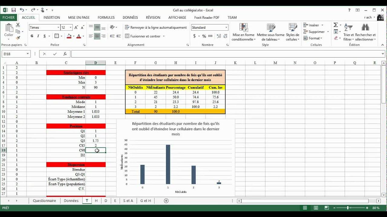Stat avec Excel 5 Calcul de statistiques descriptives ...