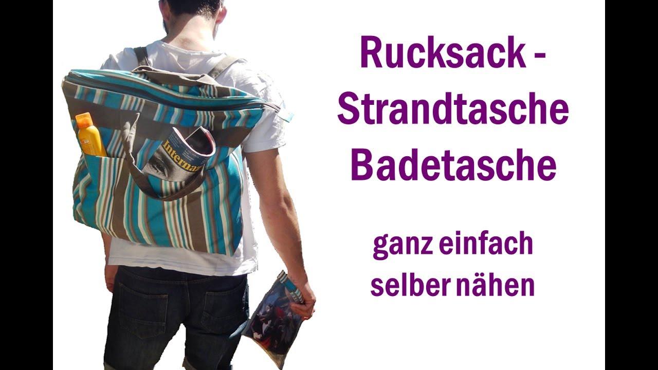 rucksack strandtasche badetasche selber n hen youtube. Black Bedroom Furniture Sets. Home Design Ideas