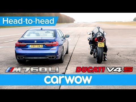 BMW M760 vs new Ducati Panigale V4 - DRAG RACE | Head-to-Head