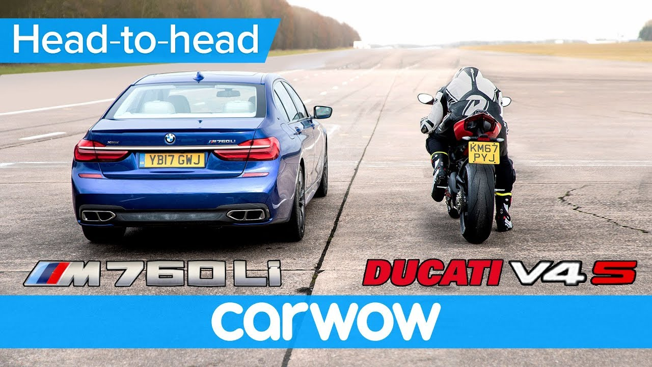 Bmw M760i Vs New Ducati Panigale V4 Drag Race Head To Head Youtube