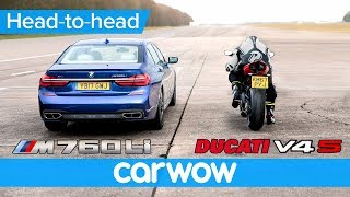 BMW M760i vs new Ducati Panigale V4 - DRAG RACE | Head-to-Head