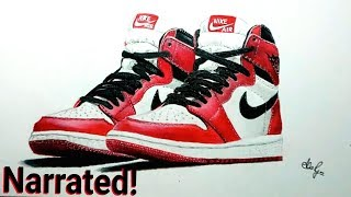 Drawing Nike Air Jordan 1 with Prismacolor - How to draw shoes - Drawing shoes
