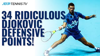 34 Times Novak Djokovic Won A Tennis Point With RIDICULOUS Defence! ⛔️