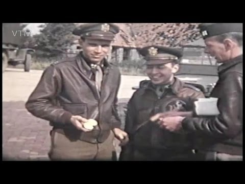 World War Two Archive Footage of 92nd Bomb Group Base Podington Fantastic colour film