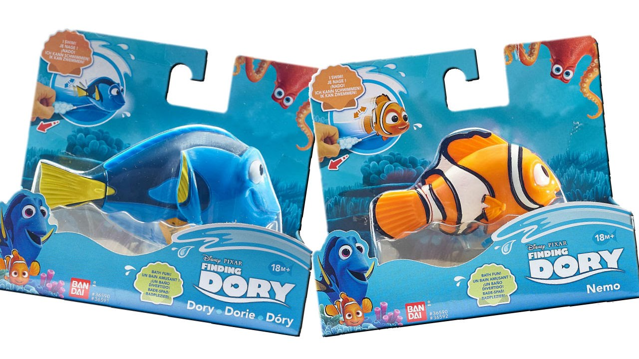 finding dory bath toys swimming dory and nemo unboxing review