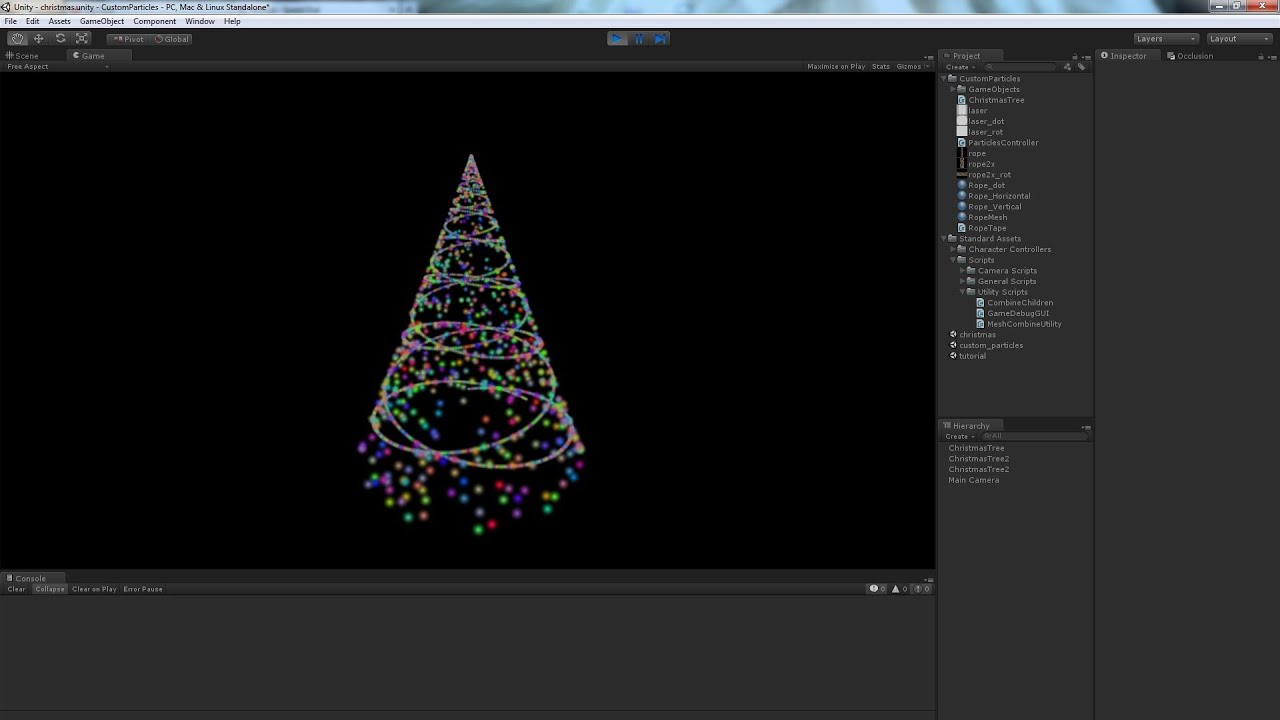Unity Custom Particle System Tutorial  Making Christmas tree and rope curves