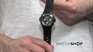 men s casio g shock alarm chronograph watch aw 590 1aer
