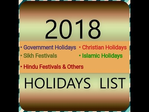 2018 GOVERNMENT,HINDU,SIKH,ISLAMIC,CHRISTIAN HOLIDAYS LIST