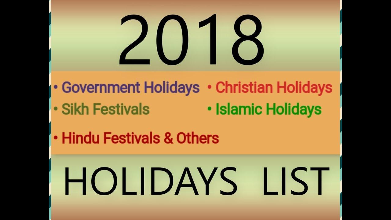 2018 governmenthindusikhislamicchristian holidays list