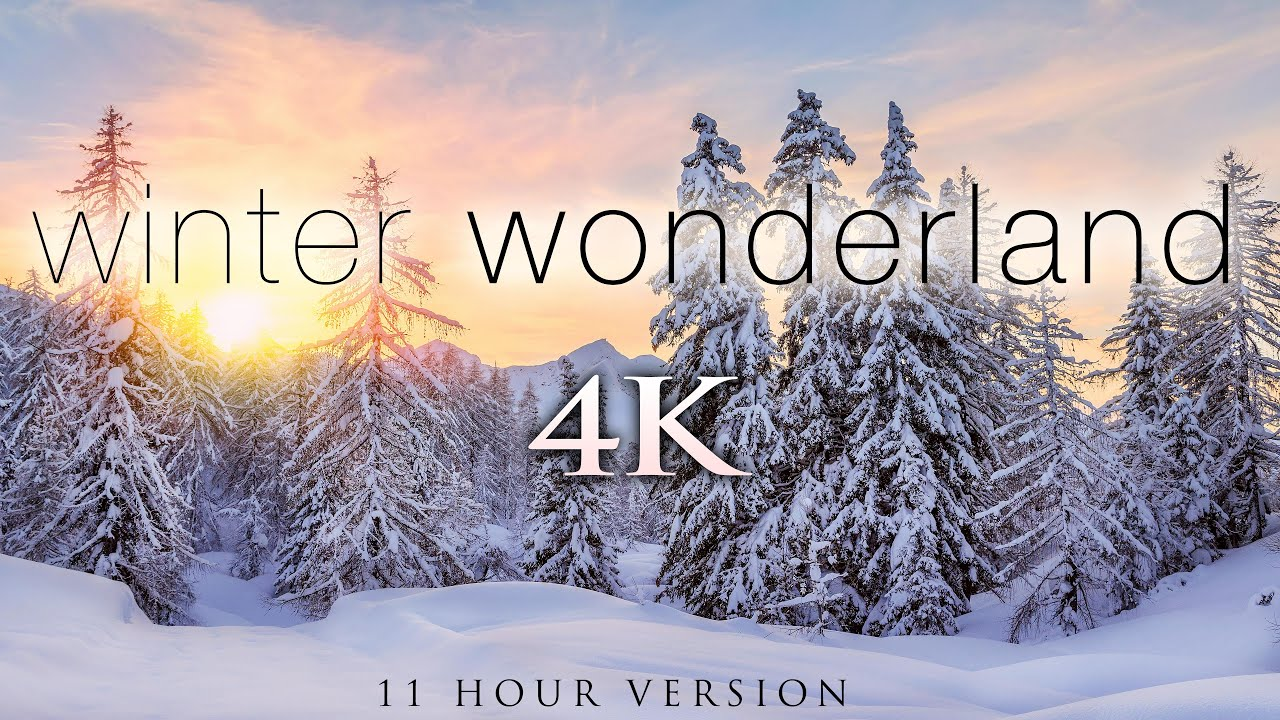 *NEW* 11 Hours of 4K Winter Wonderland + Calming Hang Drum Music for Relaxation, Stress Relief [UHD]