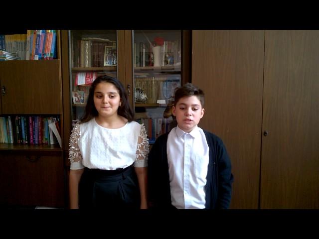 Изображение предпросмотра прочтения – «Учащиеся 5 класса В Мартиросян Марат, Бахтиярян Диана» читают произведение «Ворона и Лисица» И.А.Крылова