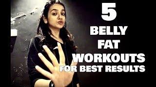 5 Easy Belly Fat Workouts For Flat Tummy ( Hindi ) | Isha Dang