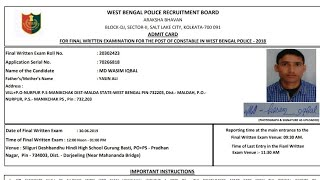 West Bengal Police Admit Card RELRASE