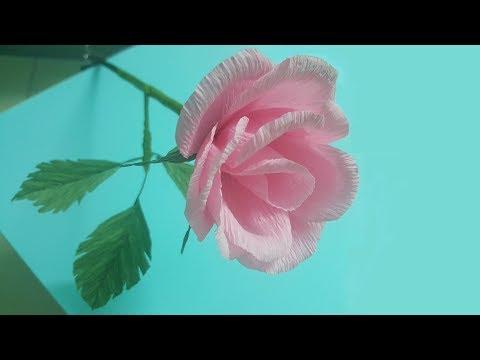 DIY how to make rose crepe paper flower | Paper flower tutorials