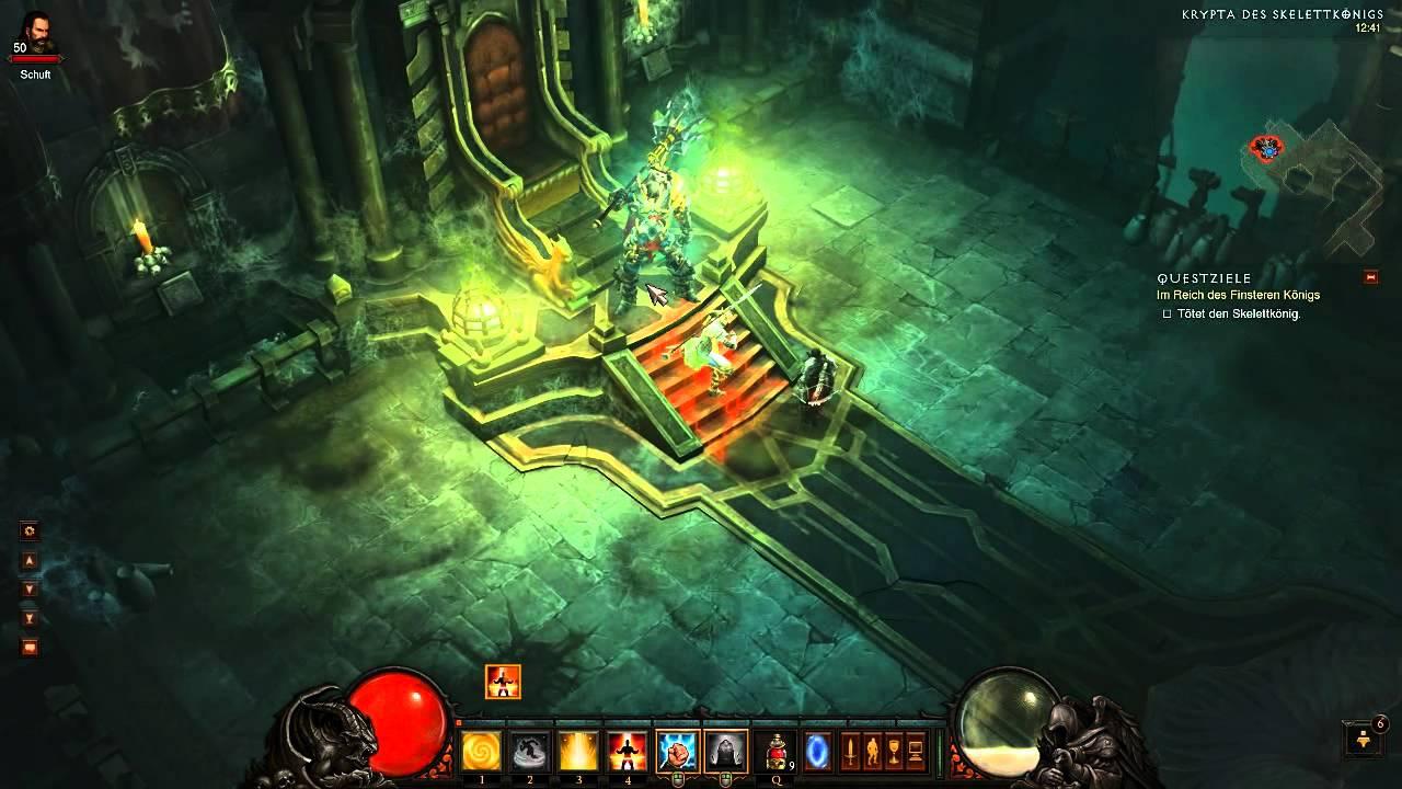 Diablo 3 Naked Monk Killing Skeleton King - YouTube