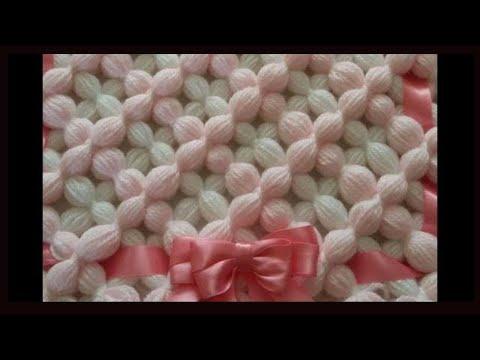 Pom pom blanket: Easy Beautiful 3D Puffy flower.  Peg to peg blanket.