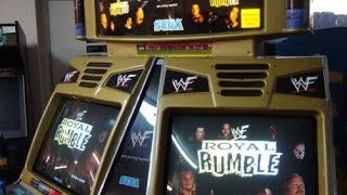 Sega Naomi WWF Royal Rumble Arcade Game!  Cool 4 player, 2 screen cabinet, WWE Legends!