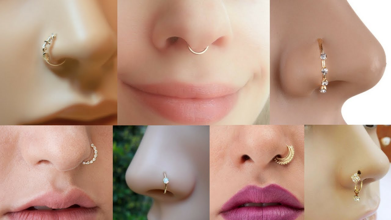 Latest Gold Nose Pins Ring Type Nose Stud For Girls Gold