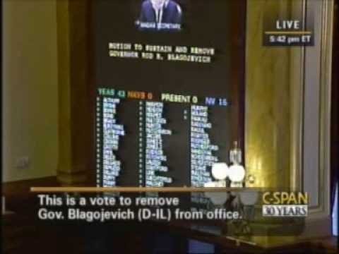 The Illinois House of Representatives impeach Governor Rod Blagojevich (D)