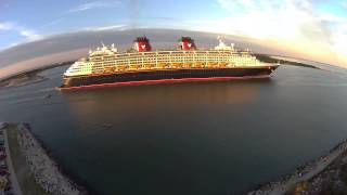 Disney Magic Departs Port Canaveral at Sunset Blade 350 QX Aerial