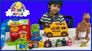 Paw Patrol Toys Rescue the Boogie Bus with Kids from the Dinosaur   Learning Colours