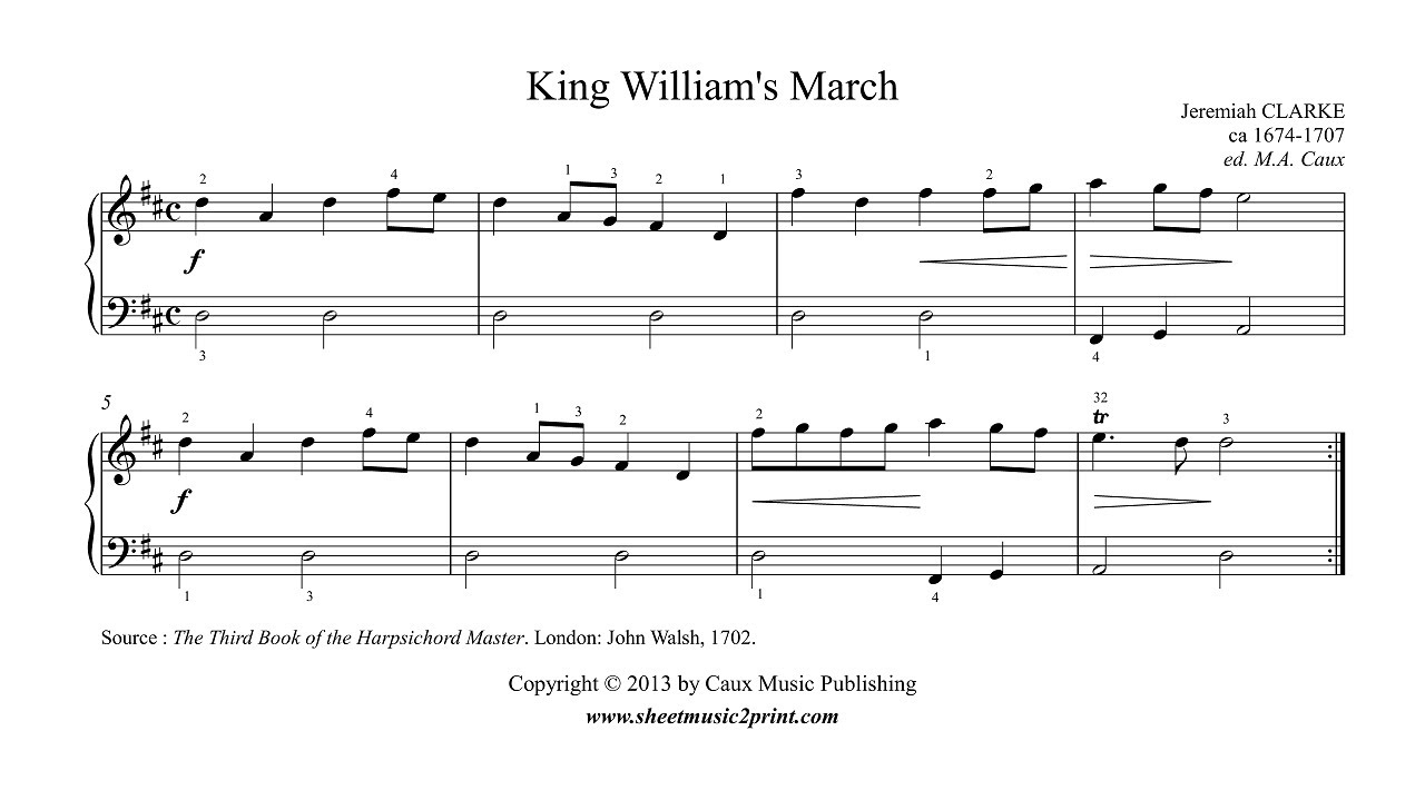 King Williams March Jeremiah Clarke Easy Piano Sheet Music