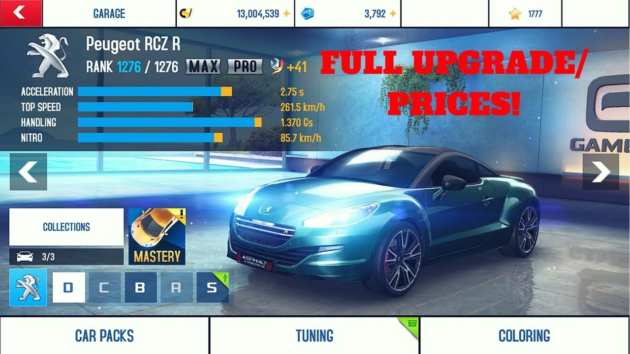 asphalt 8 peugeot rcz r max pro tuning youtube. Black Bedroom Furniture Sets. Home Design Ideas