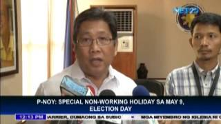 President Aquino announces May 9 as special non-working holiday
