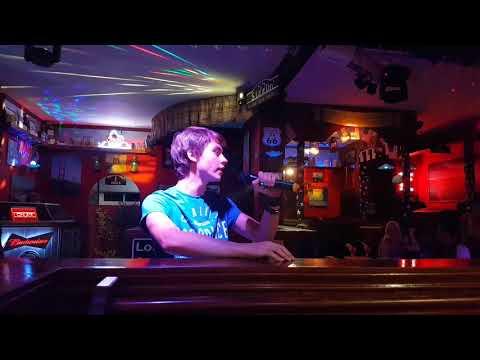 Davey on karaoke in Majorca