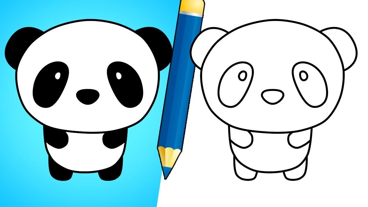 How To Draw A Cute Panda Bear Easy Youtube