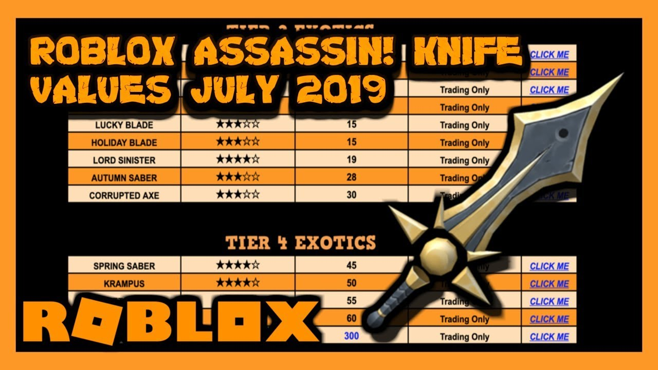 Roblox Assassin Value List July 2019 Summer Youtube