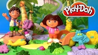 Play Doh Dora the Explorer Big Adventure Set BONUS Diego Playdough Jungle Animals by Disneycollector