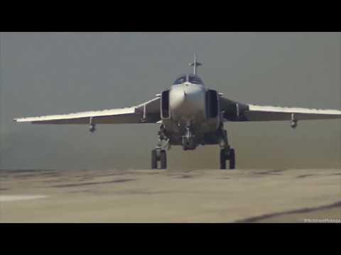 Russian warplanes in Syria unique footage