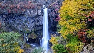 Have a nice day. Rhythm of the rain with a beautiful waterfall Kegon in Japan .