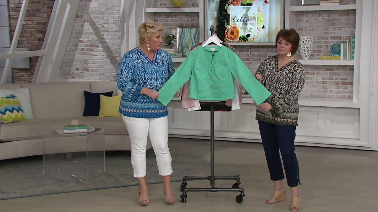 354c5b7953358 Belle by Kim Gravel Stretch Twill Jacket with Bell Sleeves on QVC ...