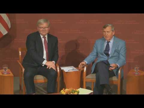 Kevin Rudd with Dr Graham Allison at the Harvard Kennedy School JFK Forum