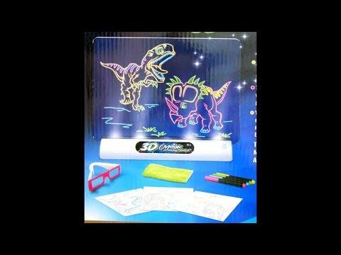 Магическая 3D доска для рисования Magic Drawing Board. Светящийся 3D планшет для рисования