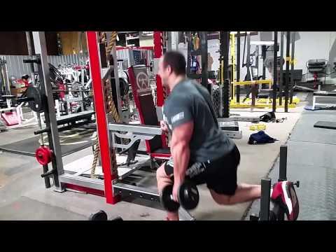 IFBB Pro Andrew Hudson doing Bulgarian squat drop set of death