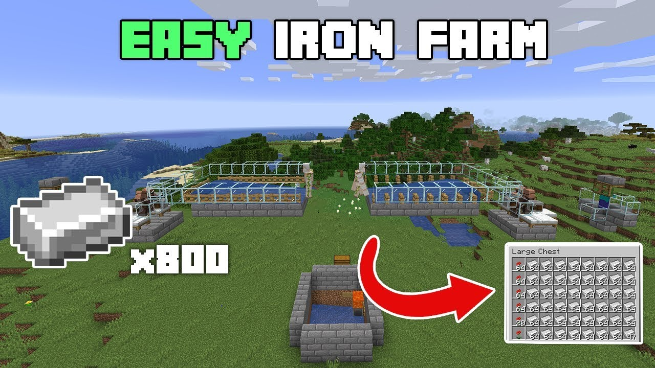 Super EASY Automatic Minecraft Iron Farm - 1.14.4 - 1.15