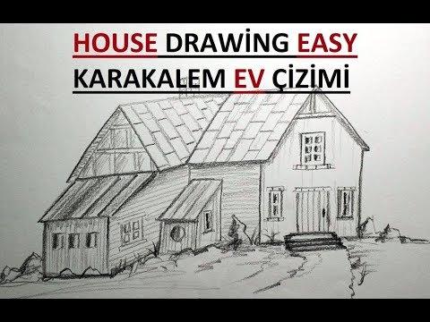 Ev Çizimi / Karakalem Kolay Ev Çizimi / Adım adım Ev Çizimi
