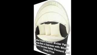 Lexmod Siesta Outdoor Wicker Patio Canopy Bed In Espresso With White Cushions...