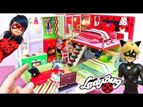 DIY MINIATURE Miraculous Ladybug & Chat Noir DOLLHOUSE (Bedrooms, Bathroom, Kitchen, Living Room)