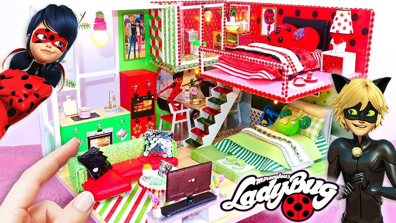 DIY MINIATURE Miraculous Ladybug & Chat Noir DOLLHOUSE (Bedrooms, Bathroom,  Kitchen, Living Room)