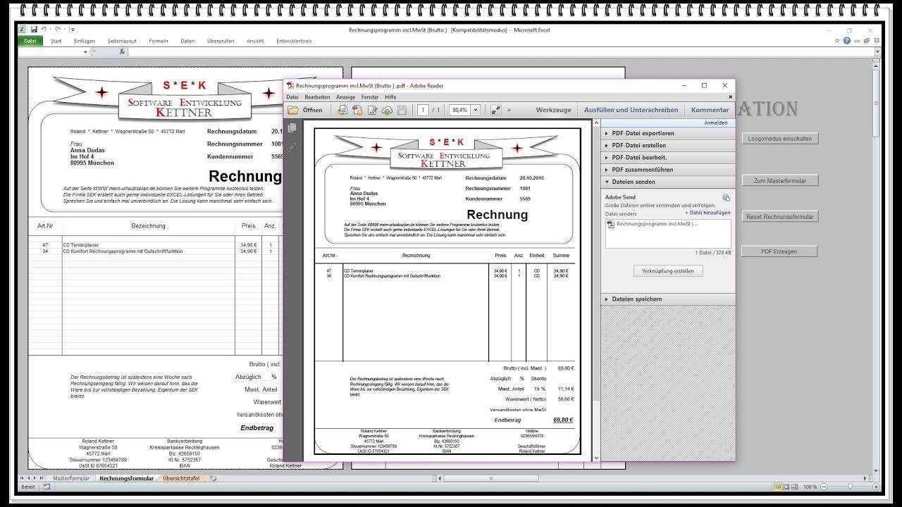 Einfaches Rechnungsprogramm Netzwerkfähige Einfache