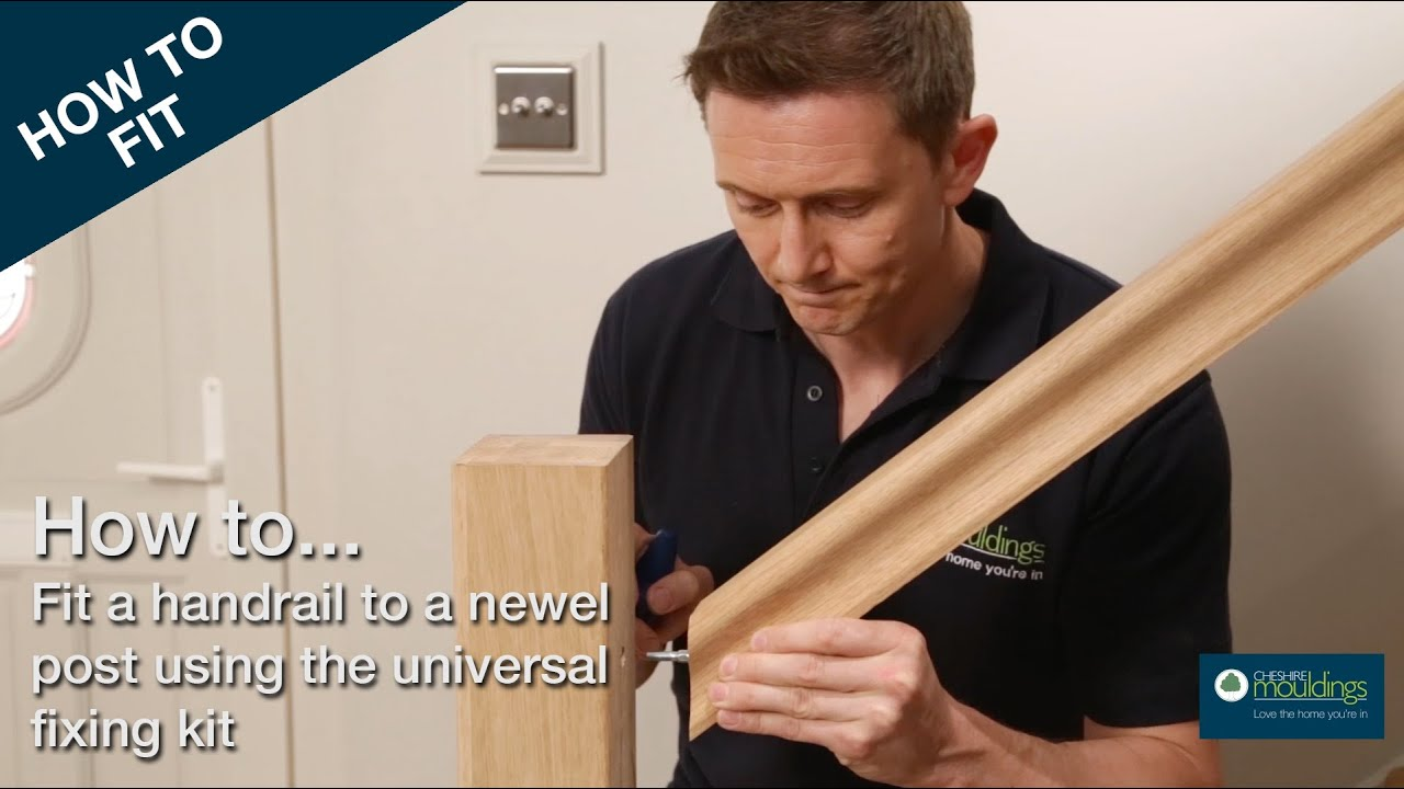 How To Fix A Handrail To A Newel Post Cheshire Mouldings Youtube   Handrail To Newel Post   Craftsman Style   Indoor Railing   Wood   Gray Stain   White Oak