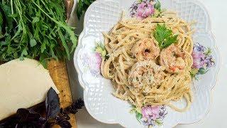 Спагетти с креветками в сливочно-сырном соусе