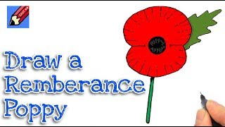 How to draw a Remembrance Poppy Real Easy - Step by Step