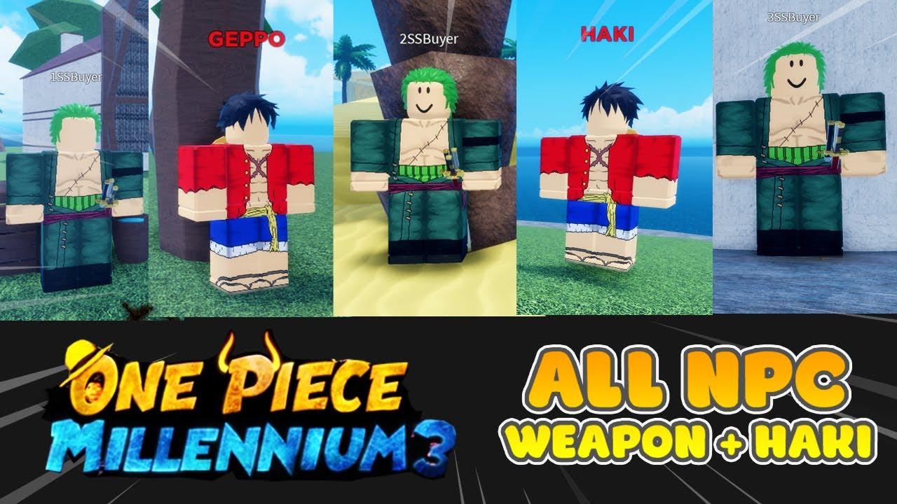 Roblox One Piece Millennium 3 Vị Tri Cac Npc Ban Vũ Khi Haki Youtube
